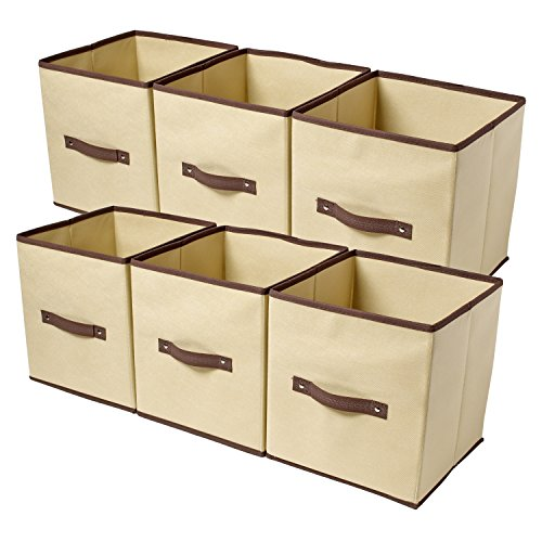 ziz home set of 6 fabric organizer cubes collapsible bins foldable storage ebay. Black Bedroom Furniture Sets. Home Design Ideas