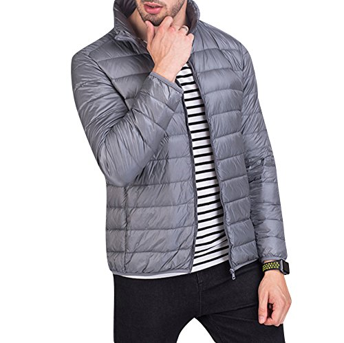 Grey Men's Winter Outwear Down Warm Lightweight Jacket Light Padded Packable Coat Jacket 7Pdqr17w