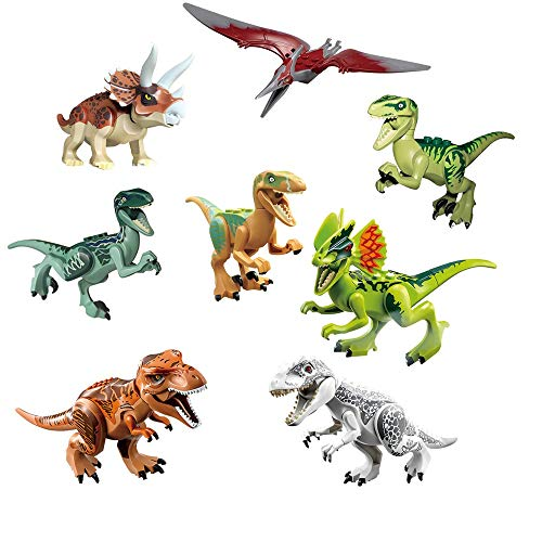 Chris.W Set of 8 Dinosaur Building Blocks Mini Plastic Dinosaur Figures Toys Bricks Jurassic World Dino Party Favors Sets for 3 4 5 6 7 Years Old Boys Girls Kids