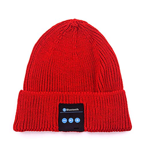 TLMYDD Europe and The United States Creative Smart Knit Hat Multi-Function Bluetooth Earphone (Color : Red)