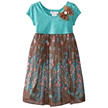 Bonnie Jean Little Girls' Dress Teal Bodice To Brown Floral Border Skirt