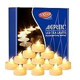 AGPtek® 100pcs Tea Light Wedding Party Flameless LED Candles (Warm White) Including Batteries