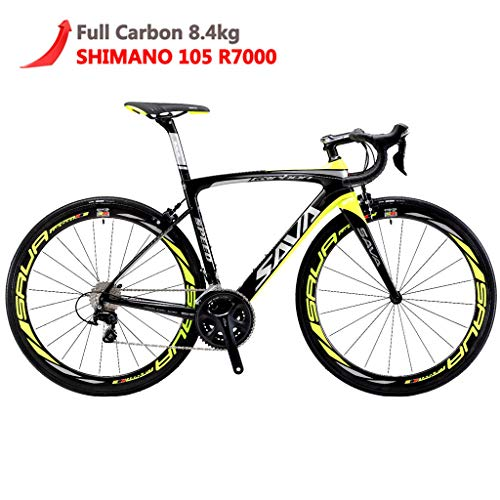 SAVADECK Herd 6.0 T800 Carbon Fiber 700C Road Bike Shimano 105 5800 Groupset 22 Speed Carbon Wheelset Seatpost Fork Ultra-Light 18.3 lbs Bicycle Black Yellow 54cm