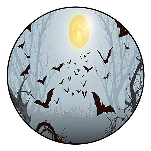 Hua Wu Chou Round Splat matfire Pit mat Round D3'/0.9m Halloween Party Bat Halloween Background Spooky Forest with Full Moon and Bats Flying ()