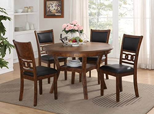 Game Table Set Dining Room (New Classic D1701 Gia Round Dining Set, 5 Piece, Brown)