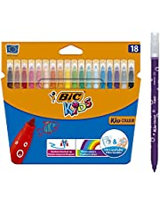 BIC Kids Kid Couleur Felt Tip Colouring Pens Medium Point - Assorted Colours, Pack of 18 Markers