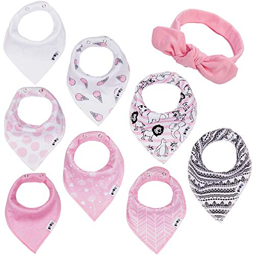 BooBooJr Baby Bandana Drool Bibs for Girls with Headband Included | 8 Infant Bibs Set for Teething, Drooling with Extra Soft Cotton to Avoid Drool Rashes | Thick & Absorbent Adjustable Bibs by BooBooJr
