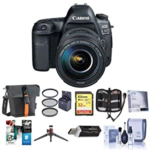 Canon EOS-5D Mark IV Digital SLR Camera Body Kit with EF 24-105mm f/4L IS II USM Kit - Bundle with 32GB U3 SDHC Card, Holster Case, Table Top Tripod, Cleaning Kit, 77mm Filter Kit, Software Package