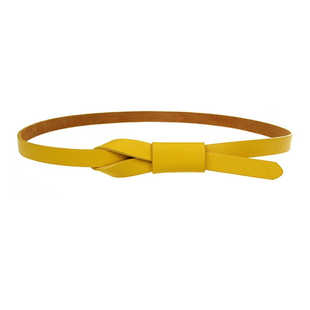 Womens Adjustable Leather Belts Fashion Skinny Minimalism Waist Strap 7 Colors Maikun MYQBELT1031-yellow