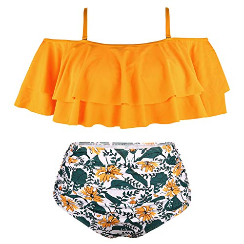 (Wavely Women Plus Size Swimwear Two Piece Ruffle Flounce Off Shoulder Swimsuits with High Waisted Print Bikini Bottoms Orange Flower)