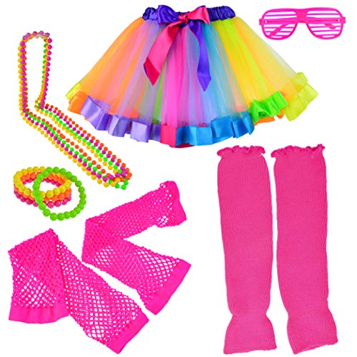 Miayon Kids 6 in 1 Costume Accessories 1970s 1980s Fancy Outfits and Dress for Cosplay Party Theme Party for Girl Rainbow -