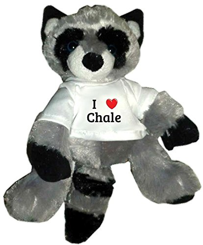 Plush Raccoon Toy in I heart Chale t-shirt (first name, last name, nickname)