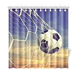 InterestPrint Sunset Blue Sky Home Decor, Black and White Soccer Ball Polyester Fabric Shower Curtain Bathroom Sets with Hooks 72 X 72 Inches