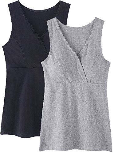 Nursing Tank Tops, Maternity Nursing Bras Camisole Pajamas For Breastfeeding (Large: Fits for Weight 150-170 lb, Black+Grey (2PCs Camisole))