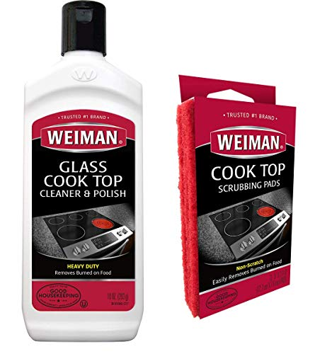 Weiman Ceramic and Glass Cooktop Cleaner - Heavy Duty Cleaner and Polish (10 Ounce Bottle and 3 Scrubbing Pads) (Protective Cooking Pads For Glass Top Stoves)