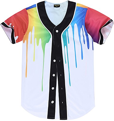 (PIZOFF Short Sleeve Arc Bottom 3D Rainbow Splatter Paint Print Baseball Jersey Shirt)