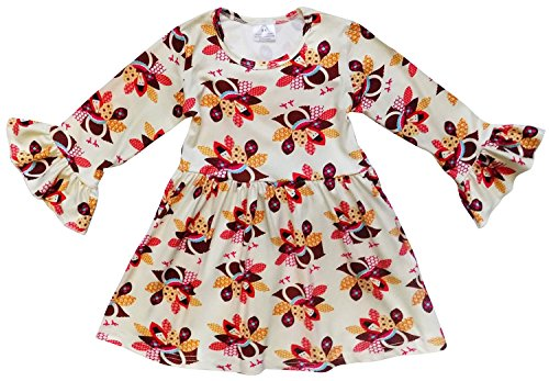 So Sydney Little Girls Long Sleeve Fall Flare Sleeve Stretch Cotton Holiday Princess Dress (S (3T), Thanksgiving Turkey) - Thanksgiving Dress