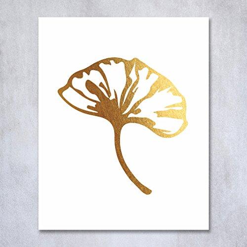 Ginkgo Leaf Gold Foil Decor Botanical Wall Art Sketch Leaf