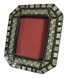 Egyptian Handmade Mosaic Inlaid Mother Of Pearl Wood Wooden 3''x2.3'' Picture Frame Mother Of Pearl Inlaid Inlay Photo Picture Standing Frame Decorative Home Décor Decoration Decorated 222