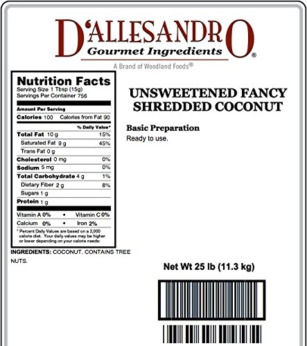 Unsweetened Fancy Shredded Coconut, 25 Lb Bag by Angelina's Gourmet (Image #1)
