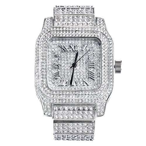 Mens Hip Hop Luxury Iced Out Techno Pave Watch Silver Tone Heavy Bezel Case Band Simulated Diamond WM 7967 - Watch Iced Out Tone