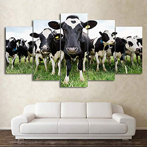JOLOMOY Wall Art Painting 5 Panels Canvas Prints, Oil Painting Printed on Canvas - Cows in The Grass Giclee Canvas Paintings Artwork Pictures Posters for Home Decor Unframed (Large) (Cow Picture Frame)