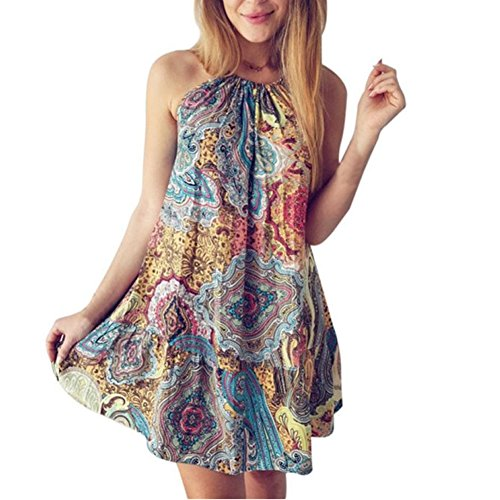 - Misaky Women's Casual Sleeveless Halter Neck Boho Print Short Dress Sundress (Asian XL, Multicolor)