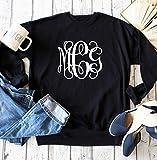 Womens Vines monogram sweatshirt, Ladies custom initials sweater, Birthday gifts, holiday present for mom, Cute oversized inital shirt