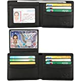 Wallet for Men-Genuine Leather RFID Blocking Bifold Stylish Wallet With 2 ID Window (Vintage Black)