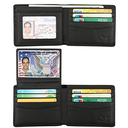 Wallet for Men-Genuine Leather RFID Blocking Bifold Stylish Wallet With 2 ID Window (Vintage Black) (Cowhide Travel Wallet)