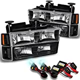 97 chevy hid headlight kit - Chevy C/K 1500/2500/3500 Tahoe Suburban Silverado C10 Black Headlights+6000K White HID Xenon Kit