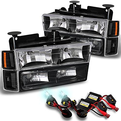 - For Chevy C/K 1500/2500/3500 Tahoe Suburban Silverado C10 Black Headlights+8000K Blue White HID Xenon