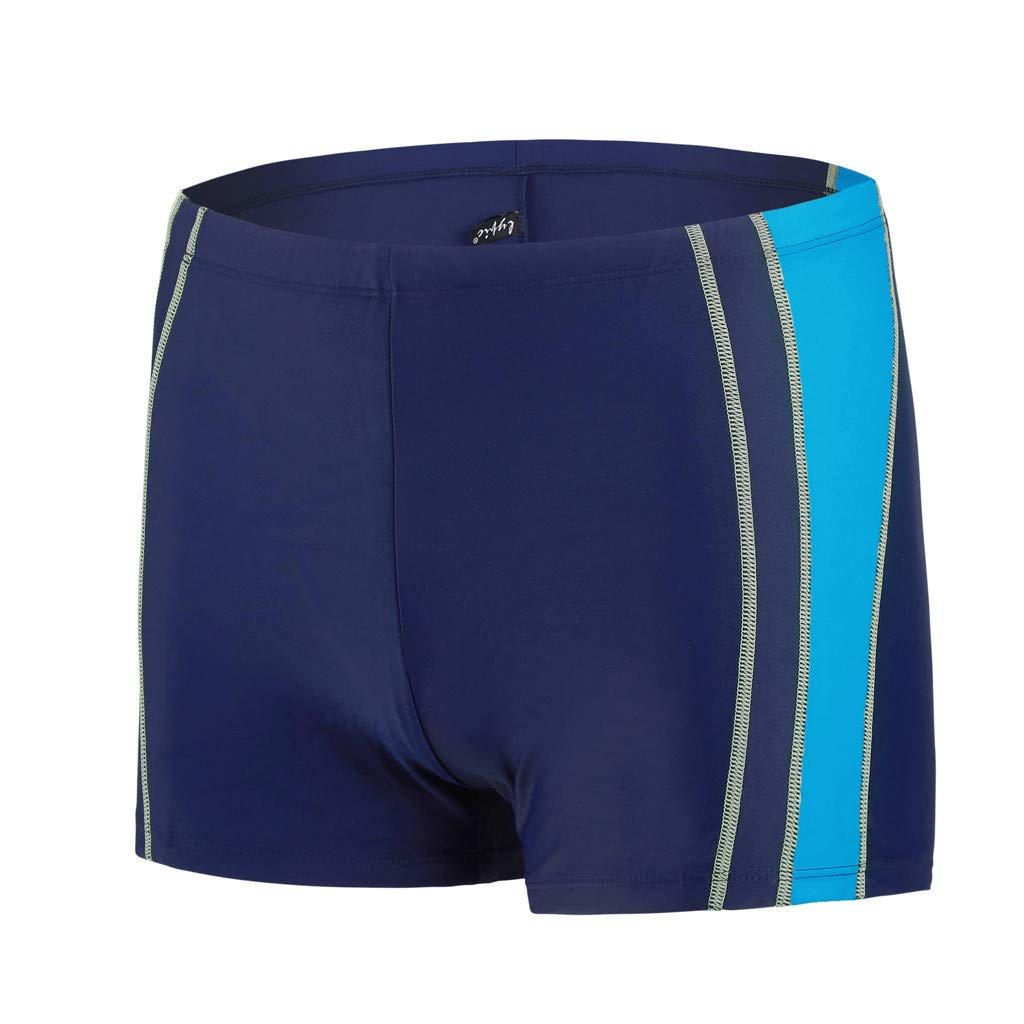 Hawaii Men Swimwear Summer Trunks Quick Dry Beach Patchwork Surfing Running Swimming Pants Asibeiul (Blue,L)