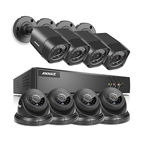 ANNKE 8-Channel HD 1080N Home Security System DVR and (8) 720P Indoor/Outdoor Weatherproof Cameras with IR Night Vision LEDs, Remote Access - NO HDD by SANNCE