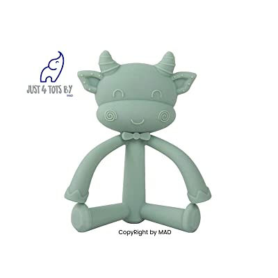 MAD | Cow Teether Toy for Babies | Self-Soothing Pain Relief Teething Cow Toy | Soft BPA Free Food Grade Silicon Baby Teether Toy | 0-36 Month (Green): Toys & Games