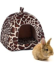 """FLAdorepet Rabbit Guinea Pig Hamster House Bed Cute Small Animal Pet Winter Warm Squirrel Hedgehog Chinchilla House Cage Nest Hamster Accessories (9"""" 9"""" 10"""", Leopard)"""
