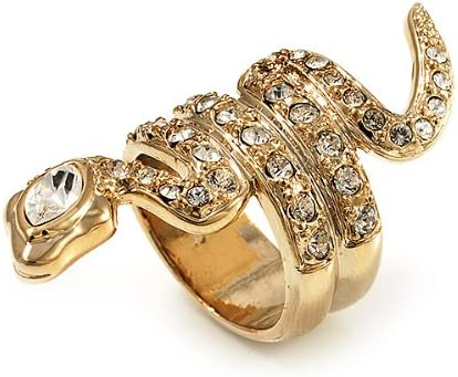 Bague dor/ée en forme de serpent orn/ée de cristaux Swarovski