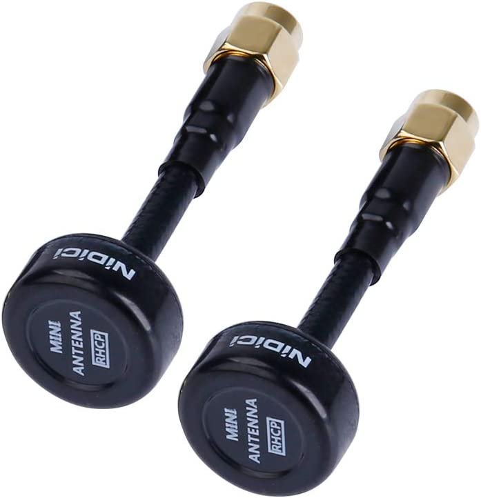 NIDICI 5.8GHz FPV Antenna RP-SMA for FPV Transmitter TX Fatshark Goggles FPV RC Drone Black Pack of 2