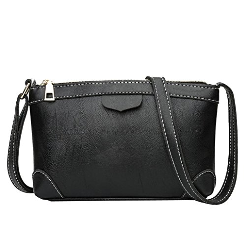 Price comparison product image Pocciol Womens Messenger Shoulder Bag, Vintage Military Leather PU Leather Briefcase Cross-body Bags (Black)