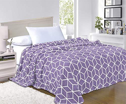 Elegant Comfort  Luxury Velvety-Soft Coral Flannel Blanket Micro-Velour Ultra-Softness Fuzzy Plush, 100% Hypoallergenic, California King, Lavender