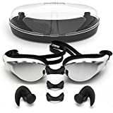 Zoma Swimming Goggles with Anti Fog Technology - 3 Piece Adjustable Nose Bridge for Perfect Comfortable Fit for Adults and Kids - Ergonomic Silicone Earplugs Included (Black)