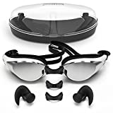Swimming goggles with Anti Fog Technology for Women and Men - Customisable Nose Bridge for the Perfect Fit for Adults and Kids - Packaged in Premium Goggle Case - FREE Ergonomic Silicone Earplugs Included (Black)
