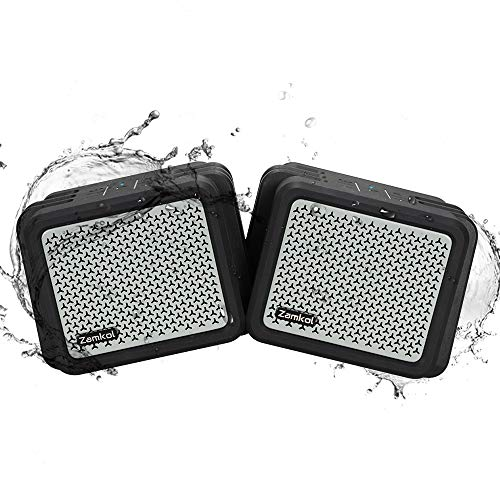 (2Pack) Bluetooth Speakers, Zamkol Outdoor Bluetooth Speakers Waterproof IPX7 Wireless Stereo Pairing Loud, Deep Bass,TWS, Built-in 5200mAh Power Durable for Party Bus, Home, Outdoors, Travel
