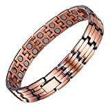 #9: UINSTONE Men's Bracelet made from PURE Copper with DOUBLE row HIGH GRADE Magnets, elegant MAGNETIC THERAPY Bracelet helps to relief Joint Pain, Arthritis, RSI, & Carpal Tunnel