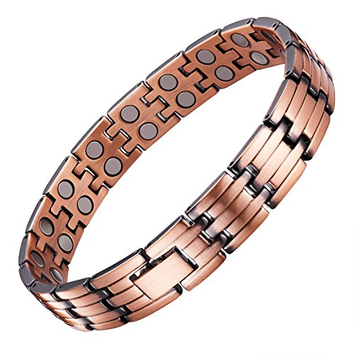 UINSTONE Men's Bracelet made from PURE Copper with DOUBLE row HIGH GRADE Magnets, elegant MAGNETIC THERAPY Bracelet helps to relief Joint Pain, Arthritis, RSI, & Carpal Tunnel