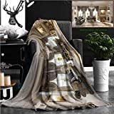"Nalagoo Unique Custom Flannel Blankets Luxurious Baroque Living Room In Large Classic Style House With Large Marble Fireplace Marbl Super Soft Blanketry for Bed Couch, Throw Blanket 60"" x 40"""