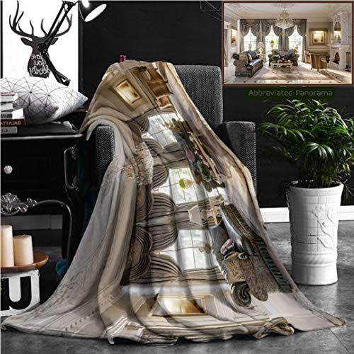 "Nalagoo Unique Custom Flannel Blankets Luxurious Baroque Living Room In Large Classic Style House With Large Marble Fireplace Marbl Super Soft Blanketry for Bed Couch, Throw Blanket 60"" x 40"" by Nalagoo"