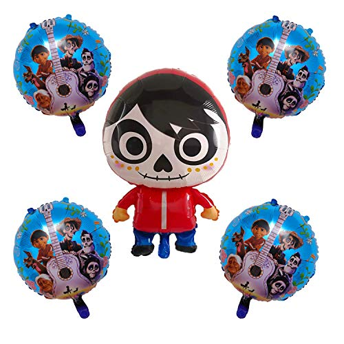 5Pcs Coco Miguel Foil Balloons Party Supplies for Kids Birthday Party Decoration