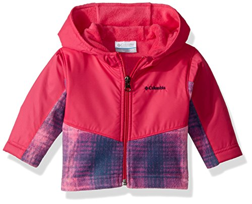 Columbia Unisex Baby Infant Steens Mt Overlay Hoodie, Cactus Pink Twill Plaid 18/24