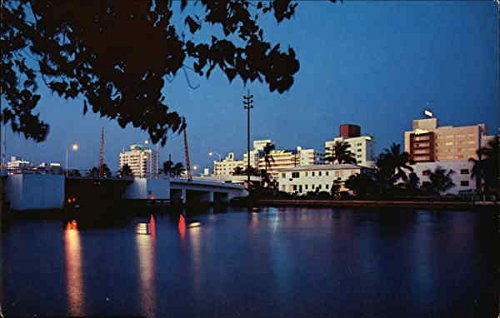 (Scenic View of Indian Creek Miami Beach, Florida Original Vintage Postcard)